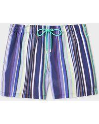 Paul Smith Purple And Navy Stripe Swim Shorts - Blue
