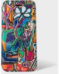 Paul Smith 'artist Studio' Leather Iphone 6/6s/7/8 Wallet Case - Multicolour