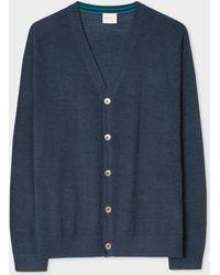 Paul Smith - Slate Blue Merino Wool Cardigan With Contrast Internal Trims - Lyst