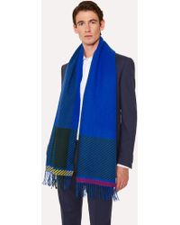 Paul Smith - Cobalt Blue And Khaki Asymmetrical Check Wool Scarf - Lyst