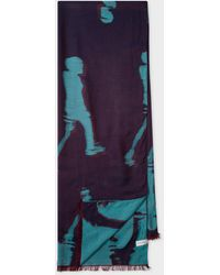 Paul Smith Navy 'abstract' Motif Silk-blend Scarf - Blue