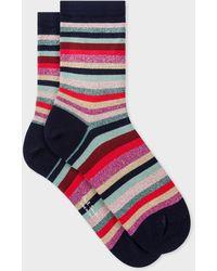 Paul Smith Navy Glitter 'swirl Stripe' Socks - Multicolour