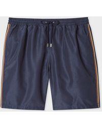 Paul Smith Navy Long Swim Shorts With 'artist Stripe' Trim - Blue