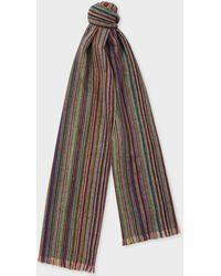 Paul Smith - Signature Stripe Herringbone Lambswool Scarf - Lyst