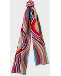 Paul Smith - 'Swirl' And Polka Dot Jacquard Double-Face Herringbone Scarf - Lyst