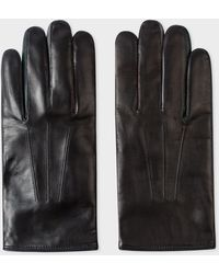 Paul Smith Black Lamb Leather Concertina Gloves With Dark Green Piping