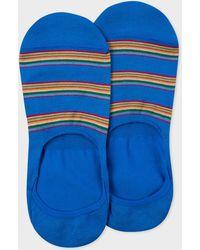 Paul Smith Indigo Multi-coloured Stripe Block Loafer Socks