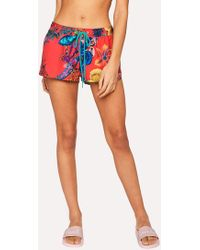 Paul Smith - Red 'Ocean' Print Swim Shorts - Lyst