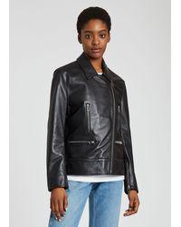 Paul Smith Black Leather Zip Biker Jacket