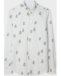 Paul Smith Tailored-fit White 'nettles' Print Cotton Shirt