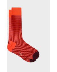 Paul Smith - Orange And Burgundy Thin Stripe Socks - Lyst