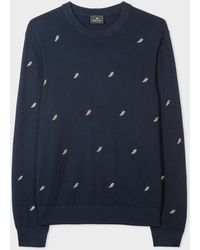 Paul Smith Navy Embroidered 'lightning Bolt' Wool-blend Sweater - Blue