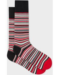 Paul Smith - & Manchester United - Red Narrow Striped Socks - Lyst