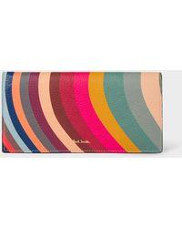 Paul Smith 'swirl' Print Leather Tri-fold Purse - Multicolor