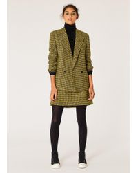 Paul Smith - Black And Yellow Dogtooth Pattern Skirt - Lyst