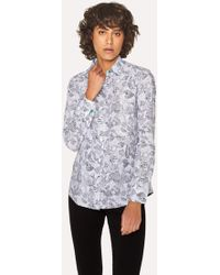 Paul Smith - White Cotton 'Karami Line Drawing' Print Shirt - Lyst