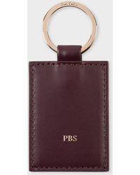 Paul Smith Damson Calf Leather Monogrammed Keyring - Purple