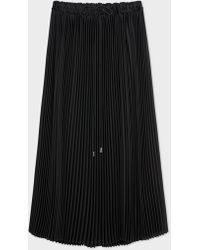 Paul Smith - Black Pleated Midi Skirt - Lyst
