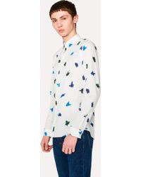 Paul Smith - Slim-Fit White 'Brush Strokes' Print Cotton Shirt - Lyst