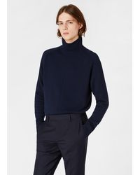 Paul Smith Dark Navy Funnel Neck Cashmere Sweater - Blue