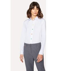 Paul Smith - Mid-Fit White Cotton Shirt With Multi-Coloured Buttons - Lyst