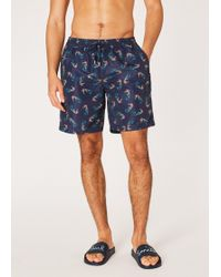 Paul Smith - Navy 'seahorse' Print Long Swim Shorts - Lyst