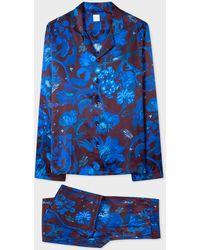 Paul Smith Blue 'beetle Botanical' Print Silk Pyjama Set