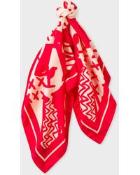 Paul Smith - Red 'Dog' Print Silk Square Scarf - Lyst