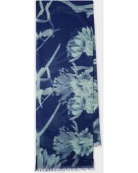 Paul Smith Navy And Green 'screen Floral' Print Cotton Scarf - Blue