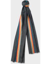 Paul Smith - Slate Grey 'Artist Stripe' Band Herringbone Wool-Blend Scarf - Lyst