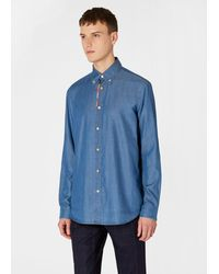 Paul Smith Classic-fit Blue Chambray Shirt With 'artist Stripe' Placket Embroidery