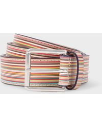 Paul Smith Embossed Signature Stripe Leather Belt - Multicolour
