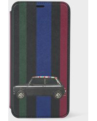Paul Smith Green 'mini Stripe' Leather Iphone X Wallet Case
