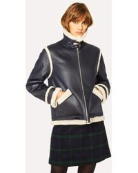 Paul Smith Navy Faux Shearling Aviator Jacket With Contrast Trims - Blue