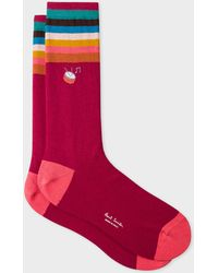 Paul Smith - Burgundy 'Artist Stripe' Cuff Socks With Embroidered Motif - Lyst