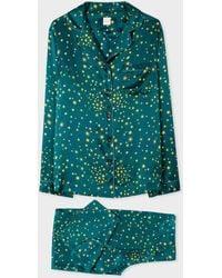 Paul Smith Teal 'stars' Print Silk Pyjama Set - Blue