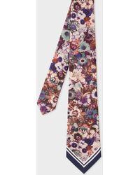 Paul Smith Multi-coloured 'floral' Print Silk Tie - Multicolour
