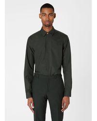 Paul Smith Slim-fit Dark Green Cotton Shirt With Signature Stripe Cuff Lining