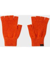 Paul Smith Orange Cashmere And Merino Wool Fingerless Gloves - Blue
