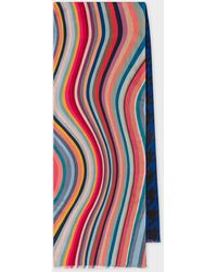 Paul Smith Double-face 'swirl And Houndstooth' Motif Scarf - Blue