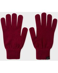 Paul Smith Burgundy Cashmere-blend Gloves - Red