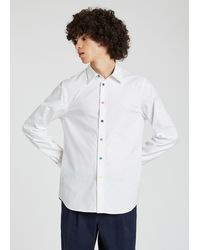 Paul Smith Tailored-fit White Cotton Shirt With Multi-colour Button Placket