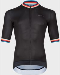 Paul Smith Black Cycling Jersey With 'artist Stripe' Trims