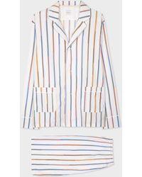 """Paul Smith Ensemble Pyjama Short """"Championship Stripe"""" en Coton Bio - Blanc"""