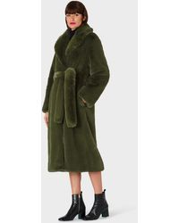 Paul Smith Dark Green Faux Fur Wrap Long Coat