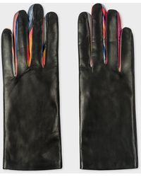 Paul Smith Black Leather 'concertina' Gloves With 'swirl' Piping