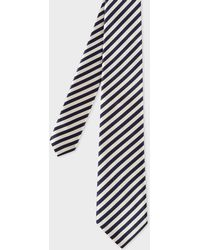 Paul Smith - Black And White Diagonal Stripe Silk Tie - Lyst