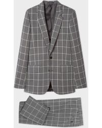 Paul Smith The Soho - Tailored-Fit Grey Loro Piana Windowpane Check Wool Suit - Gray