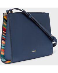 Paul Smith Blue Leather Cross-body Bag With 'swirl' Trim