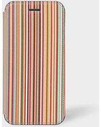 Paul Smith 'signature Stripe' Leather Iphone 6/6s/7/8 Wallet Case - Multicolour